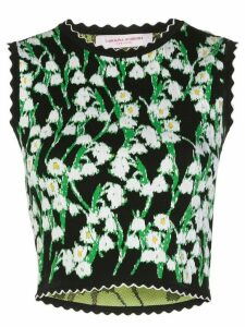 Carolina Herrera floral jacquard cropped top - Black