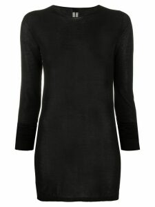 Rick Owens rolled-edge longline sweater - Black