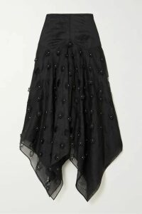 Loewe - Faux Pearl-embellished Broderie Anglaise Cotton-blend Organza Skirt - Black