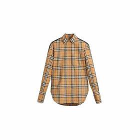 Burberry Stripe Detail Vintage Check Cotton Shirt