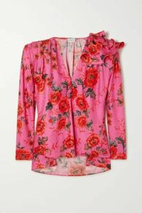 Magda Butrym - Bolzano Oversized Ruffled Floral-print Silk-satin Jacquard Blouse - Pink