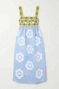 Miu Miu - Crystal-embellished Grosgrain, Canvas And Appliquéd Cotton-poplin Dress - Blue