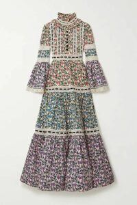 Runway Marc Jacobs - Velvet And Lace-trimmed Floral-print Stretch-cotton Maxi Dress - Pink