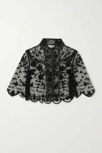 Erdem - Damasia Cropped Embellished Tulle Jacket - Black