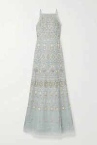 Needle & Thread - Sweet Petal Embellished Embroidered Tulle Gown - Sky blue