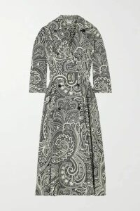 Max Mara - Addobbo Belted Double-breasted Paisley-print Cotton Dress - Black