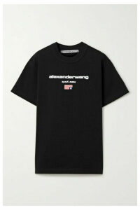 Alexander Wang - Embroidered Printed Cotton-jersey T-shirt - Black