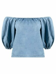 Pinko off-the-shoulder puff-sleeves top - Blue