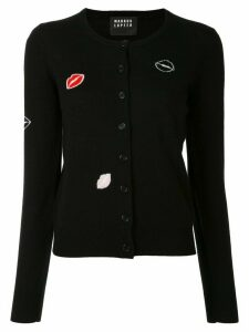 Markus Lupfer lips embroidered cardigan - Black