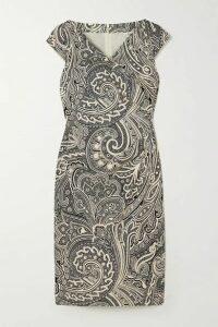 Max Mara - Vosci Wrap-effect Paisley-print Cotton Dress - Black