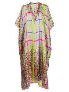 Pierre-Louis Mascia silk oversized kaftan dress - NEUTRALS