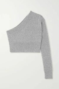 GAUGE81 - Welling Cropped One-sleeve Cable-knit Cashmere Sweater - Gray