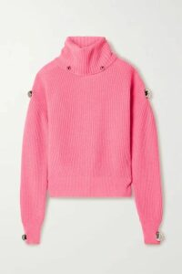 Christopher Kane - Dome Embellished Ribbed Wool Turtleneck Sweater - Bubblegum