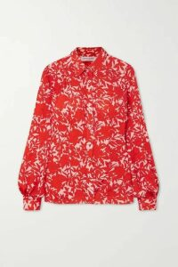 Carolina Herrera - Floral-print Satin Blouse - Red