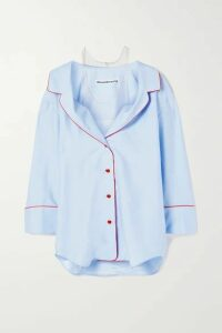 Alexander Wang - Cold-shoulder Silk-jacquard And Stretch-tulle Shirt - Light blue