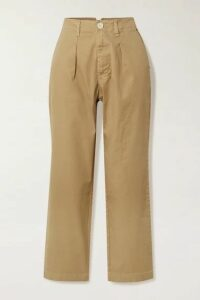Alex Mill - Cropped Pleated Cotton-blend Twill Straight-leg Pants - Beige