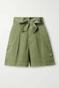 Alex Mill - Expedition Belted Pleated Cotton-blend Poplin Shorts - Green