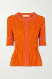 Marni - Two-tone Ribbed Cotton Top - Orange