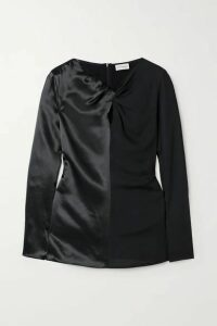 By Malene Birger - Ficus Twist-front Paneled Satin And Crepe Blouse - Black