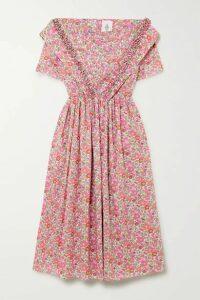 Horror Vacui - Phillipine Ruffled Pintucked Floral-print Cotton Midi Dress - Pink