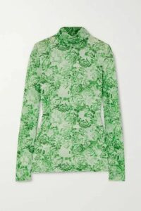 GANNI - Floral-print Stretch-mesh Turtleneck Top - Light green