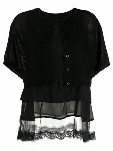 Twin-Set fine knit tiered cardigan - Black