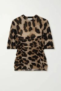 GANNI - Ruched Leopard-print Stretch-mesh T-shirt - Leopard print