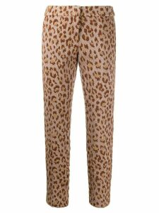 Semicouture leopard-jacquard cropped trousers - NEUTRALS