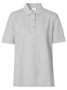 Burberry embroidered TB motif polo top - Grey