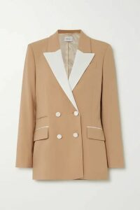 Racil - Two-tone Double-breasted Twill-trimmed Wool-blend Blazer - Tan