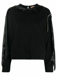 Nº21 glass-embellished crew-neck top - Black