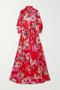 Carolina Herrera - Belted Floral-print Silk-organza Gown - Red