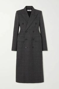 Balenciaga - Double-breasted Prince Of Wales Checked Wool Coat - Gray