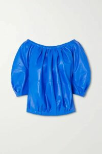 Marni - Gathered Leather Blouse - Blue