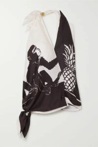 Bottega Veneta - Printed Silk-satin Twill Halterneck Top - Ivory