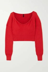 Unravel Project - Ribbed Cotton And Cashmere-blend Sweater - Red