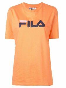 Fila logo-print crew neck T-shirt - ORANGE