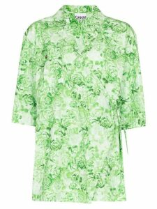 GANNI floral print wrap shirt - Green