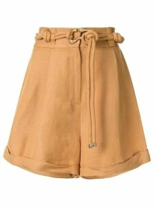 Acler Corsica belted loose-fit shorts - Brown