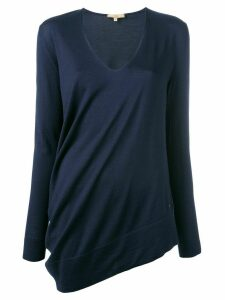 Fay asymmetric V-neck jumper - Blue