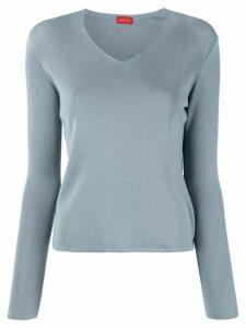 Des Prés V-neck silk pullover - Blue