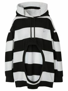 Burberry cut-out detail striped hoodie - Black