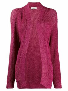 Laneus metallized open-front cardigan - PINK