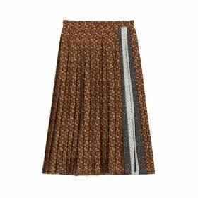 Burberry Monogram Stripe Print Crepe Pleated Skirt