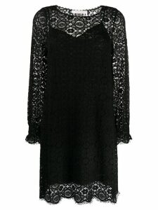 See by Chloé floral embroidered layered shift dress - Black