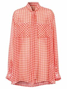 Burberry gingham pussy-bow blouse - Red