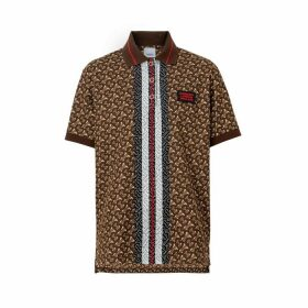 Burberry Monogram Stripe Print Cotton Oversized Polo Shirt