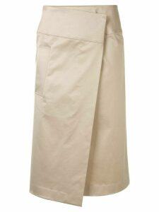 Des Prés poplin wrap skirt - NEUTRALS
