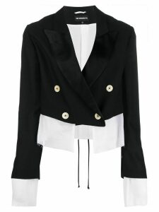 Ann Demeulemeester two tone double-breasted jacket - Black