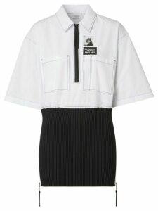 Burberry knitted panel short-sleeved shirt - White